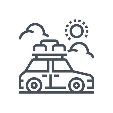 summer tires: Road trip icon suitable for info graphics, websites and print media and  interfaces. Line vector icon.
