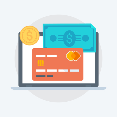 Payment Methods flat style, colorful, vector icon for info graphics, websites, mobile and print  media. Иллюстрация