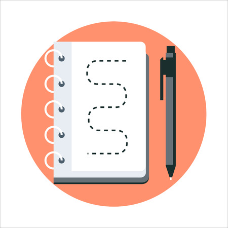 print media: Sketching, notebook flat style, colorful, vector icon for info graphics, websites, mobile and print media. Illustration
