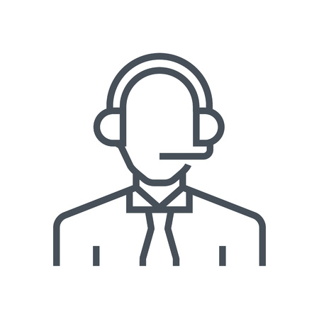 face with headset: Support avatar icon suitable for info graphics, websites and print media and  interfaces. Line vector icon.