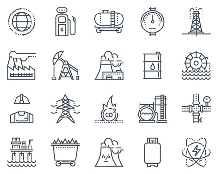 Energie-industrie icon set geschikt voor info graphics, websites en gedrukte media. Zwart-wit vlakke lijn pictogrammen. Stock Illustratie