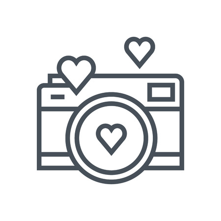 Valentines day camera icon suitable for info graphics, websites and print media. Vector, flat icon, clip art. Imagens - 55954408