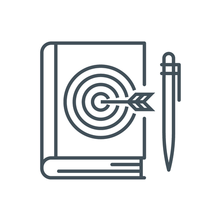 favorite book: Quality education, target on a book icon suitable for info graphics, websites and print media and  interfaces. Line vector icon. Illustration