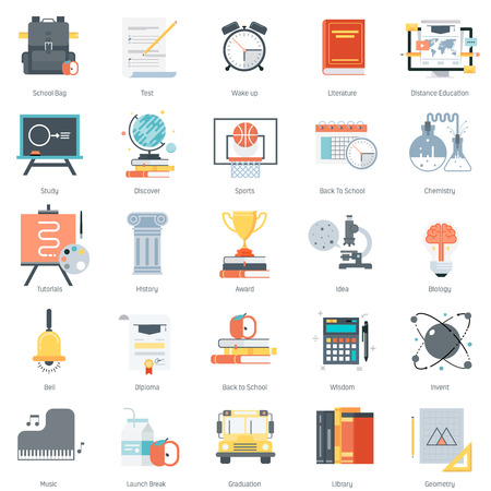 computer education: Education theme, flat style, colorful, vector icon set for info graphics, websites, mobile and print media. Illustration