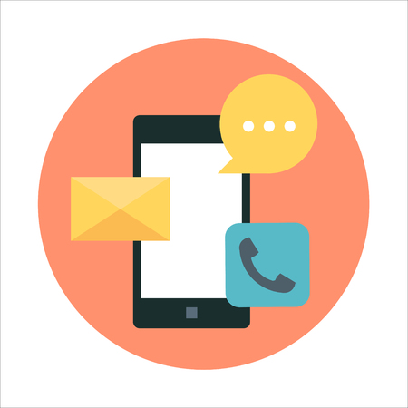 Téléphone mobile, thème de la communication, style plat, coloré, vecteur d'icônes pour les graphiques d'informations, les sites Web, les médias mobiles et imprimés. Banque d'images - 55954655