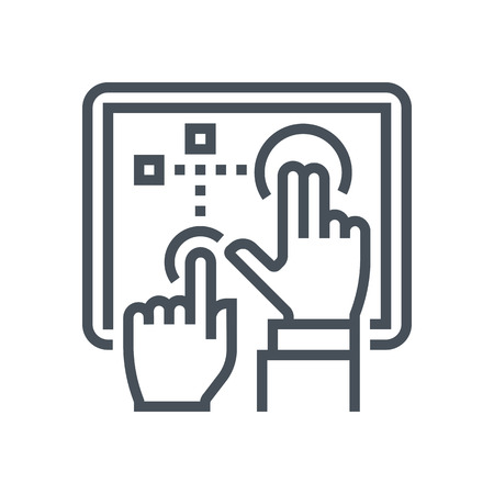 screen: Multi touch, touch screen icon suitable for info graphics, websites and print media and  interfaces. Line vector icon.