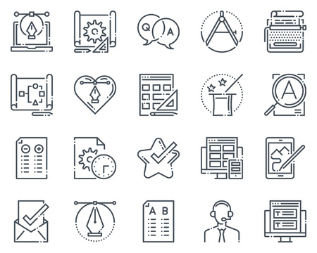 copy writing: Design icon set suitable for info graphics, websites and print media.  Hand drawn style, pixel perfect line vector icons