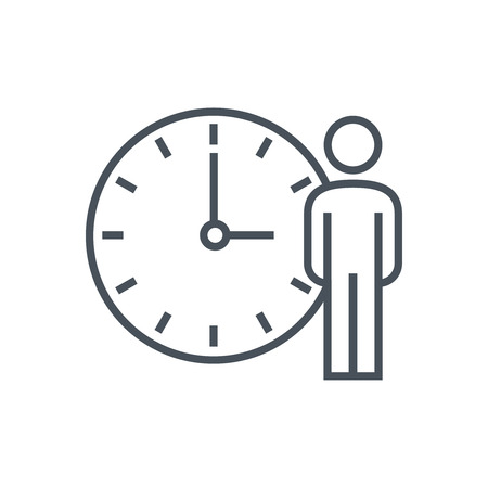 Arbeitsstunden, Uhr-Symbol für Info-Grafiken, Webseiten und Printmedien. Bunte Vektor, flache Symbol, Clip-Art.