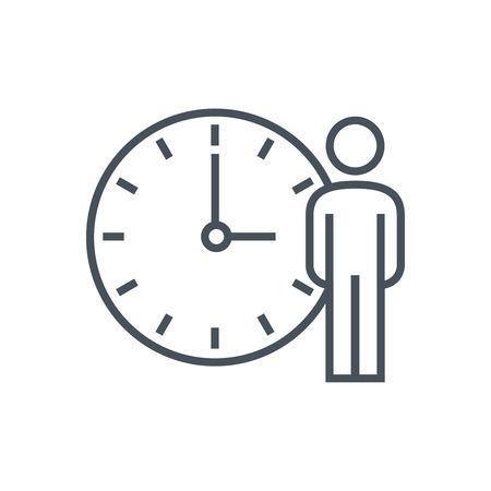 Arbeitsstunden, Uhr-Symbol für Info-Grafiken, Webseiten und Printmedien. Bunte Vektor, flache Symbol, Clip-Art. Standard-Bild - 55955033