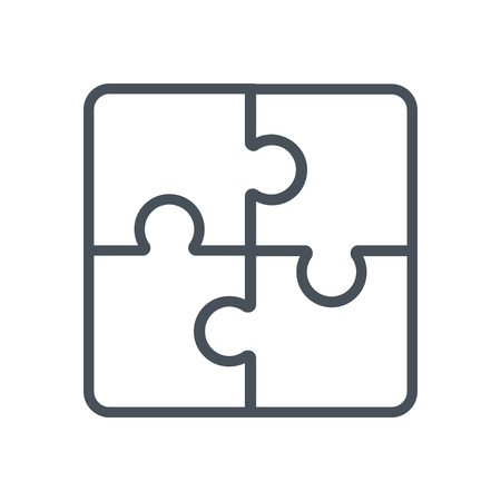 Jigsaw puzzle, business solution icon suitable for info graphics, websites and print media and  interfaces. Line vector icon.