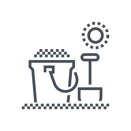 sandcastle: Sandcastle, shovel icon suitable for info graphics, websites and print media and  interfaces. Line vector icon.