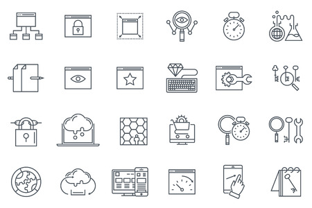 Search engine optimization icon set suitable for info graphics, websites and print media. Black and white flat line icons.
