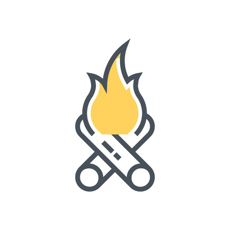 Camping fire icon suitable for info graphics, websites and print media and  interfaces. Line vector icon.