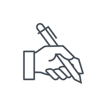 pen icon: Hand holding a pen icon suitable for info graphics, websites and print media and  interfaces. Line vector icon. Illustration