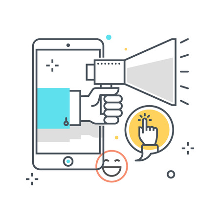 mobile marketing: Color line, mobile marketing concept illustration, icon, background and graphics. The illustration is colorful, flat, vector, pixel perfect, suitable for web and print. It is linear stokes and fills.