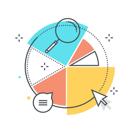 graph report: Color line, statistics, piechart concept illustration, icon, background and graphics. The illustration is colorful, flat, vector, pixel perfect, suitable for web and print. It is linear stokes and fills. Stock Photo