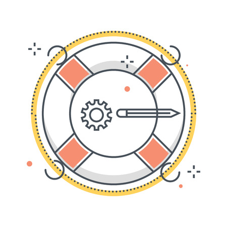 Color line, life buoy illustration, icon, background and graphics. The illustration is colorful, flat, vector, pixel perfect, suitable for web and print. It is linear stokes and fills.