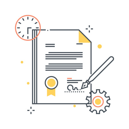 basic law: Color line, contract illustration, icon, background and graphics. The illustration is colorful, flat, vector, pixel perfect, suitable for web and print. It is linear stokes and fills. Stock Photo