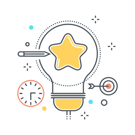 invent clever: Color line, creativity illustration, icon, background and graphics. The illustration is colorful, flat, vector, pixel perfect, suitable for web and print. It is linear stokes and fills.