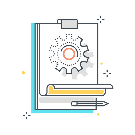 prototyping: Color line, prototyping illustration, icon, background and graphics. The illustration is colorful, flat, vector, pixel perfect, suitable for web and print. Linear stokes and fills.