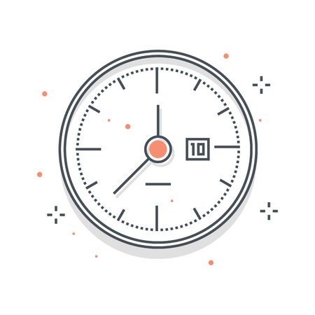 breaks: Color line, clock illustration, icon, background and graphics. The illustration is colorful, flat, vector, pixel perfect, suitable for web and print. Linear stokes and fills.