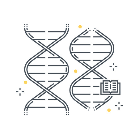 gene: Color line, biology, gene illustration, icon, background and graphics. The illustration is colorful, flat, vector, pixel perfect, suitable for web and print. Linear stokes and fills.