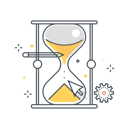 sand timer: Color line, sand timer illustration, icon, background and graphics. The illustration is colorful, flat, vector, pixel perfect, suitable for web and print. It is linear stokes and fills.