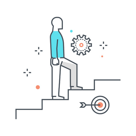 climbing up: Color line, climbing up illustration, icon, background and graphics. The illustration is colorful, flat, vector, pixel perfect, suitable for web and print. It is linear stokes and fills.