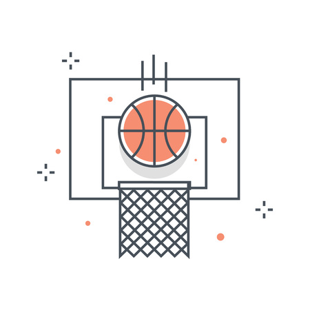 color line basketball sports illustration icon background