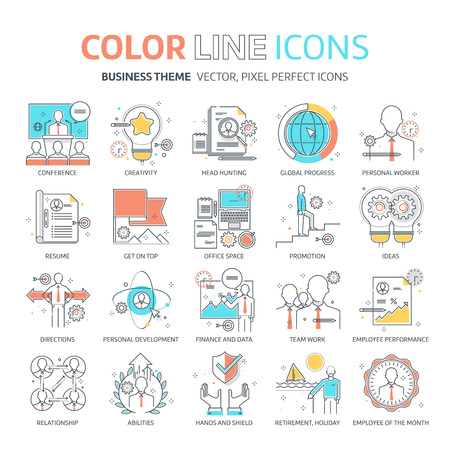 carrer: Color line, business illustrations, icons, backgrounds and graphics. The illustration is colorful, flat, vector, pixel perfect, suitable for web and print. It is linear stokes and fills.