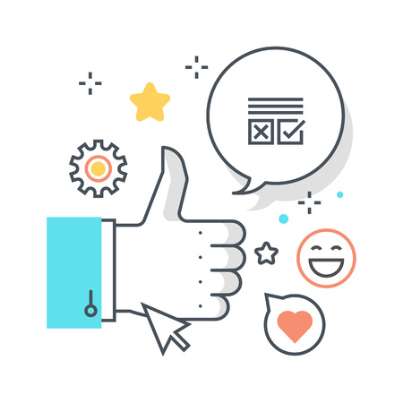 endorsement: Social campaign concept illustration, icon, background and graphics. The illustration is colorful, flat, vector, pixel perfect, suitable for web and print. It is linear stokes and fills.