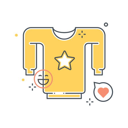 wet shirt: Shirt illustration, icon, background and graphics. The illustration is colorful, flat, vector, pixel perfect, suitable for web and print. It is linear stokes and fills.