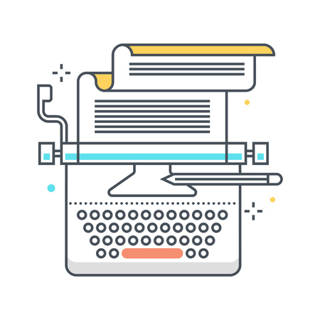 copy writing: Copy writing color line, concept illustration, icon, background and graphics. The illustration is colorful, flat, vector, pixel perfect, suitable for web and print. It is linear stokes and fills.