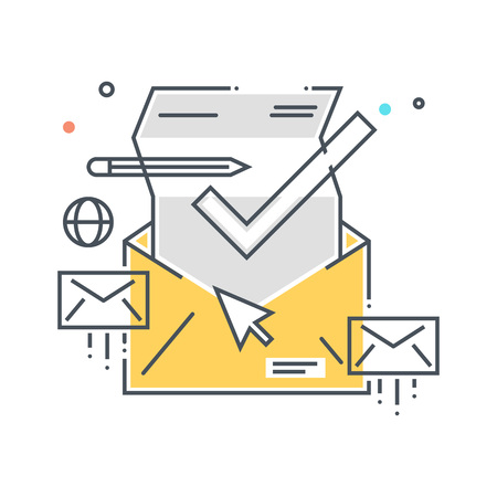 inbox: Color line, inbox, receive mail concept illustration, icon, background and graphics. The illustration is colorful, flat, vector, pixel perfect, suitable for web and print. It is linear stokes and fills. Stock Photo