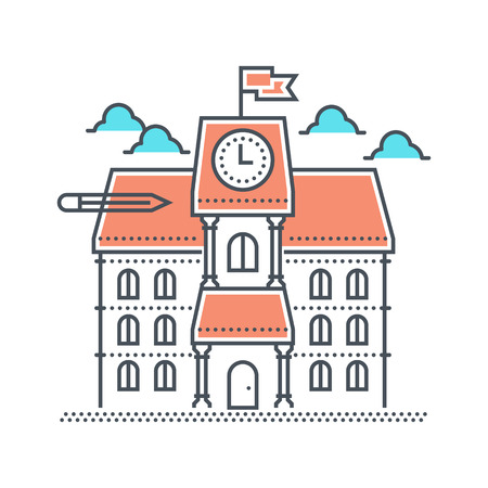 educational institution: Color line, school illustration, icon, background and graphics. The illustration is colorful, flat, vector, pixel perfect, suitable for web and print. Linear stokes and fills. Stock Photo
