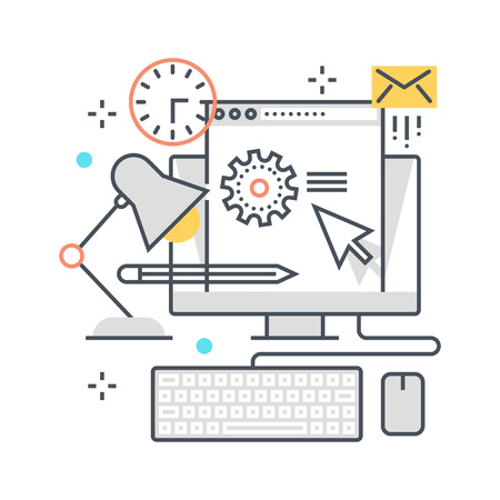 suitable: Office, work hours concept illustration, icon, background and graphics. The illustration is colorful, flat, vector, pixel perfect, suitable for web and print. It is linear stokes and fills. Stock Photo