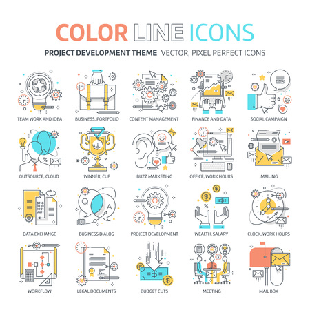 copy writing: Color line, Project development concept illustrations, icons, backgrounds and graphics. The illustration is colorful, flat, vector, pixel perfect, suitable for web and print. It is linear stokes and fills.