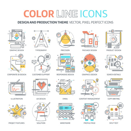 cons: Color line, design concept illustrations, icons, backgrounds and graphics. The illustration is colorful, flat, vector, pixel perfect, suitable for web and print. It is linear stokes and fills.