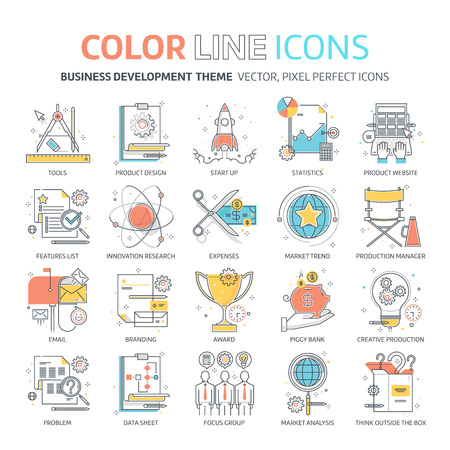 Color line, business development illustrations, icons, backgrounds and graphics. The illustration is colorful, flat, vector, pixel perfect, suitable for web and print. It is linear stokes and fills. Banque d'images
