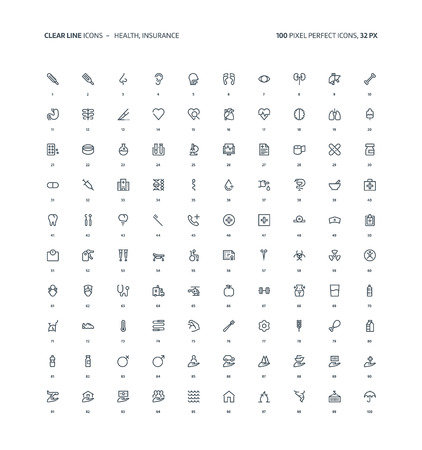 Health and insurance clear line, illustrations, icons, backgrounds and graphics. The icons pack is black and white, flat, vector, pixel perfect, minimal, suitable for web and print. Linear pictograms.
