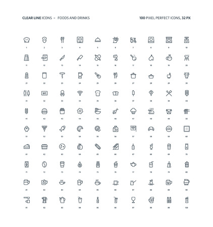 Foods and drinks clear line, illustrations, icons, backgrounds and graphics. The icons pack is black and white, flat, vector, pixel perfect, minimal, suitable for web and print. Linear pictograms.