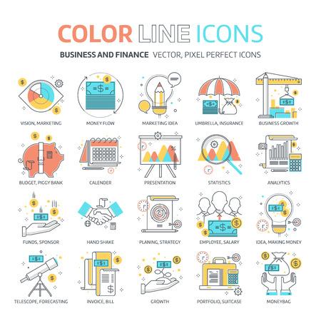 컬러 라인, 비즈니스 및 금융 삽화, 아이콘, 배경 및 그래픽. 그림은 컬러 풀 한, 평면, 픽셀 완벽 하 고 웹 및 인쇄에 적합합니다. 선형 스톡 및 채우기