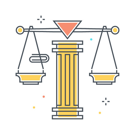 Color line, law scale illustration, icon, background and graphics. The illustration is colorful, flat, pixel perfect, suitable for web and print. Linear stokes and fills.