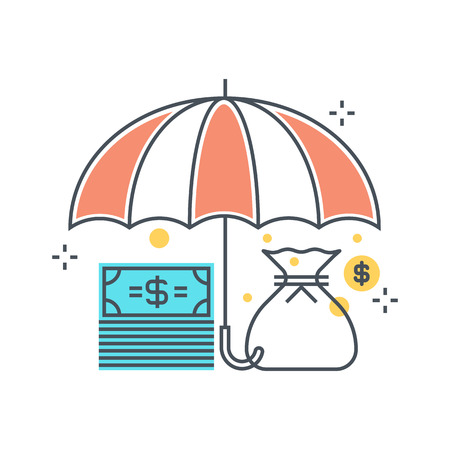 Color line, umbrella, insurance illustration, icon, background and graphics. The illustration is colorful, flat, pixel perfect, suitable for web and print. Linear stokes and fills.  イラスト・ベクター素材