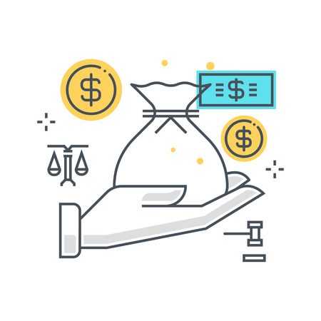 tax attorney: Color line, inheritance illustration, icon, background and graphics. The illustration is colorful, flat, pixel perfect, suitable for web and print. Linear stokes and fills. Illustration