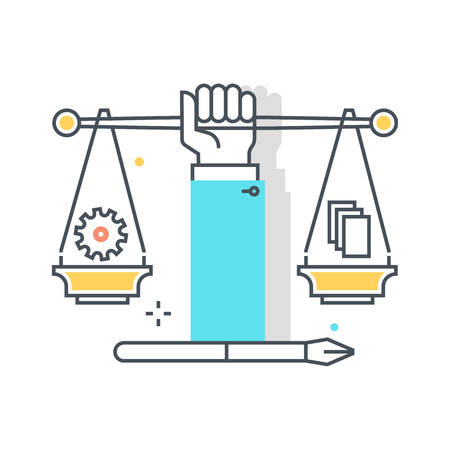 civil rights: Color line, civil rights illustration, icon, background and graphics. The illustration is colorful, flat, pixel perfect, suitable for web and print. Linear stokes and fills.