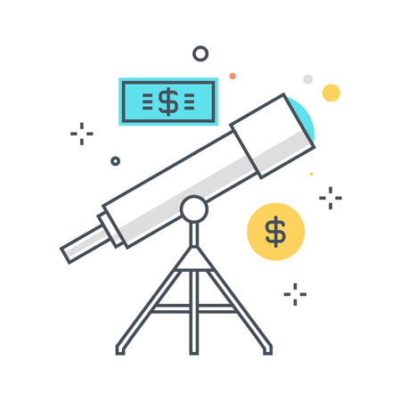 Color line, telescope, forecasting illustration, icon, background and graphics. The illustration is colorful, flat, pixel perfect, suitable for web and print. Linear stokes and fills.