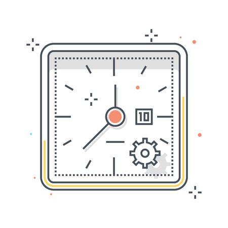カラーライン、時計のイラスト、アイコン、背景、グラフィック。イラストは、カラフルなフラット、ピクセル完璧な web に適した、印刷です。線形