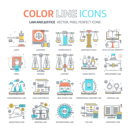 tax attorney: Color line, law illustrations, icons, backgrounds and graphics. The illustration is colorful, flat, pixel perfect, suitable for web and print. It is linear stokes and fills.