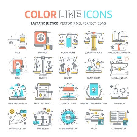 Ligne de couleur, illustrations de loi, icônes, arrière-plans et graphiques. L'illustration est colorée, plate, pixelisée, adaptée au web et à l'impression. Il est linéaire Stokes et se remplit.
